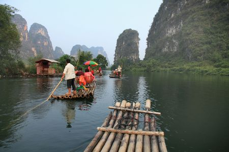 Traveling down the scenic Yulong river, China
