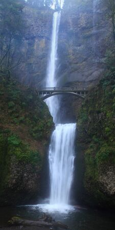 oregon cascades: A vertical panorama of Multnomah Falls, Oregon Stock Photo