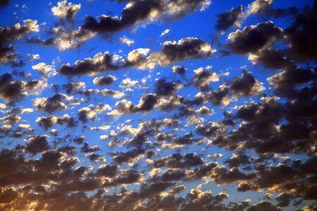 altocumulus: Cotton like Altocumulus clouds in the Autumn sky