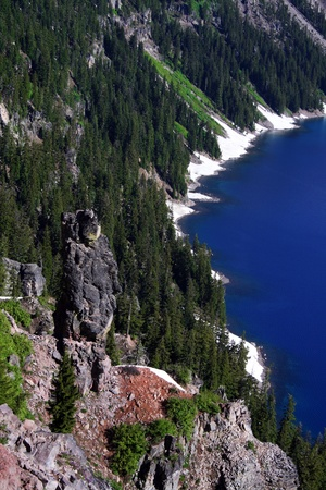 crater lake: A stone sentry guarding the shore of Crater Lake