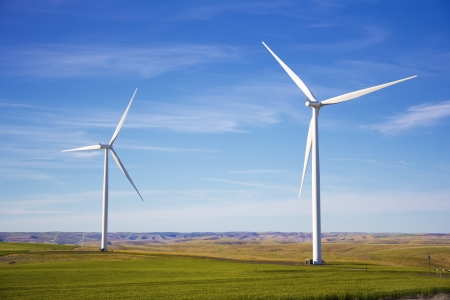 Two wind turbines in the Pacific Nothwest Stock Photo