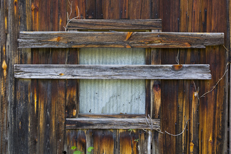 old mining building: A boarded up window on an old building in the ghost town of Rush, Arkansas