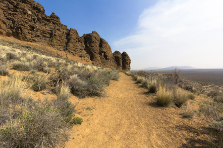 A trail through Fort Rock, in the high desert of Central Oregon