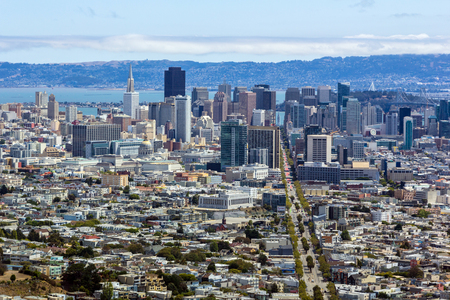 atop: San Francisco Skyline from atop Twin Peaks Stock Photo