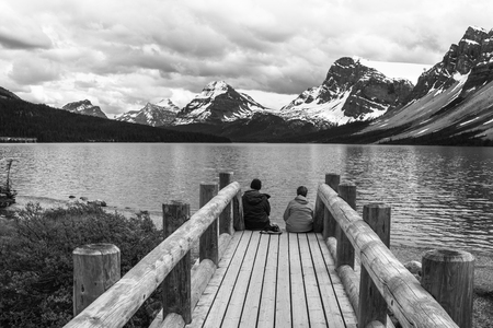 Beautiful Bow Lake Banff, Canada in black and white