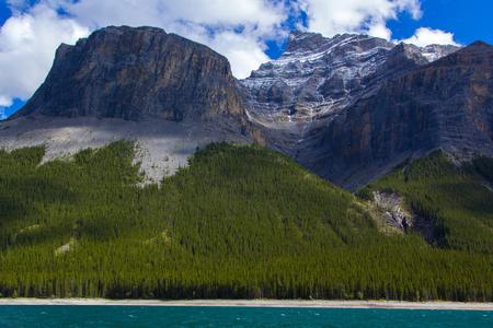 Beautiful mountains on the shore of Lake Minnewanka, Banff National Park, Alberta, Canada