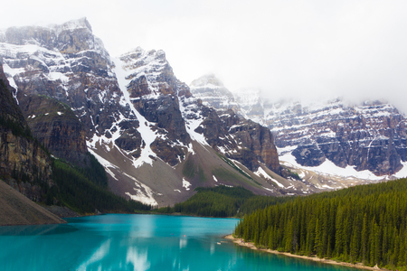 The turquoise waters and snow covered peaks of Moraine Lake, Alberta