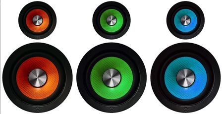 red, green and blue Speakers on a white background