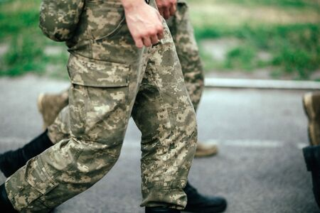 detachment of marching soldiers Stock Photo