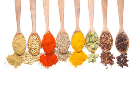 indian spices isolated on white background.