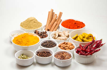 indian spices isolated on white background. Stock fotó