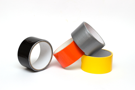 colorful tape rolls background on white