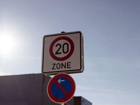 20mph traffic speed zone sign. slow speed.