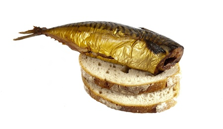 This is how it looks delicious smoked mackerel with bread Stock Photo