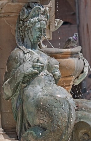 Nymphs and mermaids are often elements of the fountains  Stock Photo