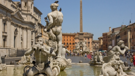 Fragment of the monument with a fountain located in Piazza Navona
