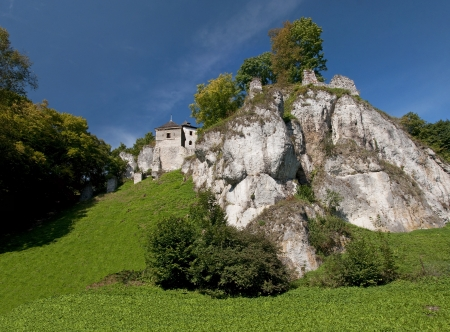 Medieval castles built on inaccessible rocks are called eagles sockets. Stock Photo