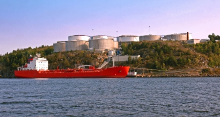 Tanker and Silos in harbour photo