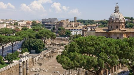 View from the Campidoglio on the Roman Forum and Colosseum Stock Photo