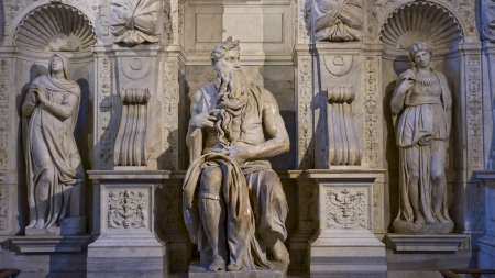 One of the amazing sculptures of Michelangelo Buonarotti - Moses Editorial