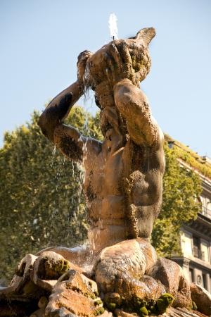 fontana: Fontana Del Tritone in Piazza Barberini Stock Photo