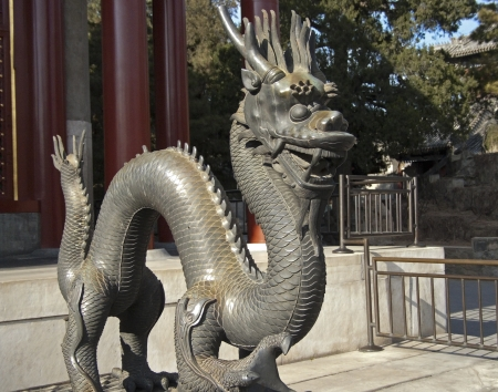 Dragon from Summer Palace in Beijing - China   Stock Photo
