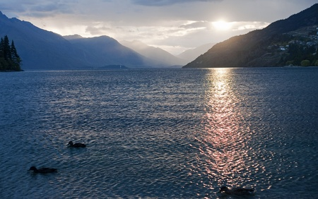 Evening view of the lake near Queenstown Stock Photo - 14606179