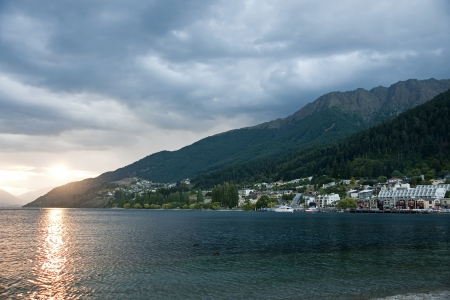 Sunset overlooking the lake, near Queenstown Stock Photo - 14606150