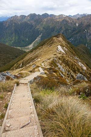 kepler: Footbridge on the  Kepler Track in New Zealand Stock Photo