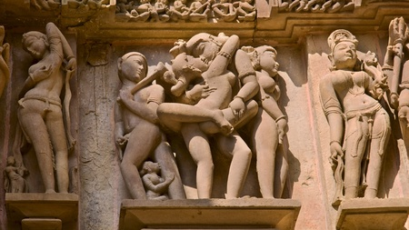 Erotic bas-reliefs found on the walls of temples in Kajuraho