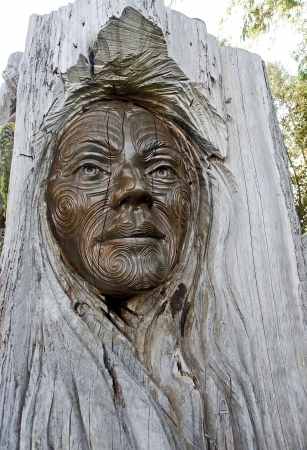 Maori carvings are often found in the parks of New Zealand photo