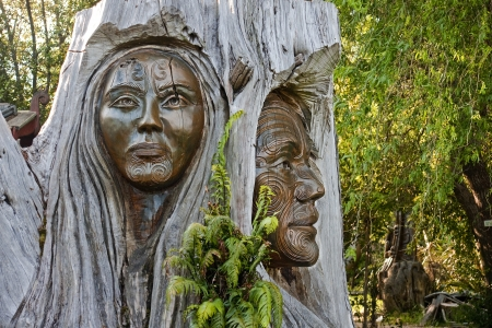 oceania: Maori carvings are often found in the parks of New Zealand