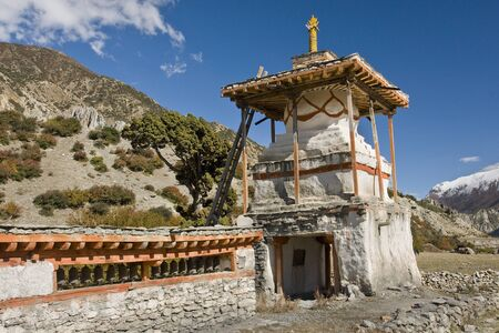 While trekking in the Himalayas misses many of the buildings Stock Photo