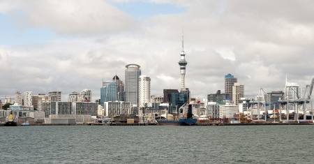 View of downtown Auckland from the entrance to the port