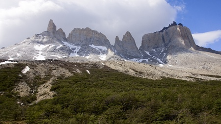 Rocky snow-capped peaks of Torres del Pain