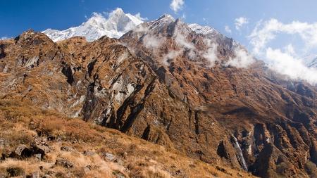 Trekking to Annapurna Base Camp - view of the snow peak Machhapuchre