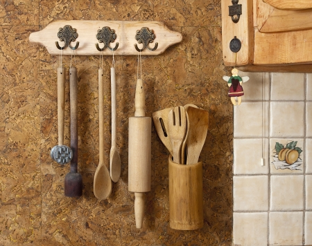 Decoration of the old style wooden utensils photo