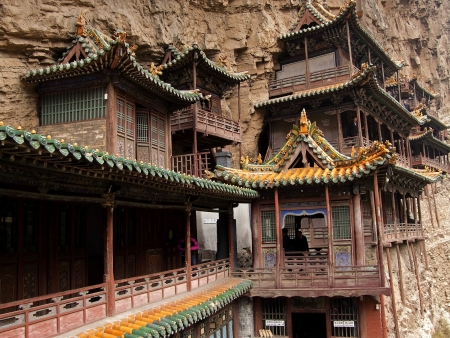 Antique hanging temples located near the  Datong - China photo