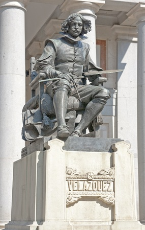 Statue of Velazquez in front of the gallery in Madrid Prado