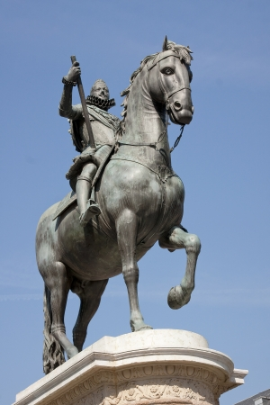 Madrid - statue of a rider to the square plaza mayor
