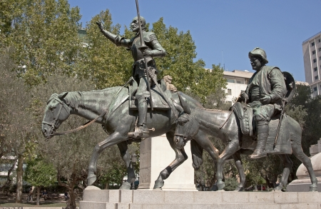 Don Kichta and Sanchoo Pansa monument on one of the main squares in Madrid photo