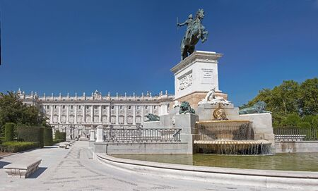 A fountain located in front of the royal palace in Madrid - Spain Editorial