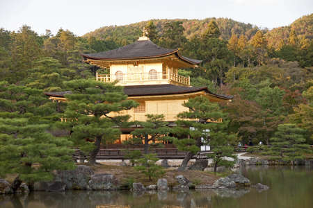 The Golden Pavilion - bautyful garden in Kyoto  View in autumn