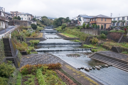 View of the beautiful river in Beppu - Japan Stock Photo