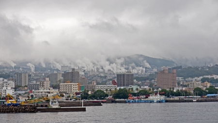 View to residential waterfront harbor in Beppu - Japan