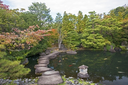 Japanese Garden in Himeji - Japan  View in autumn Stock Photo