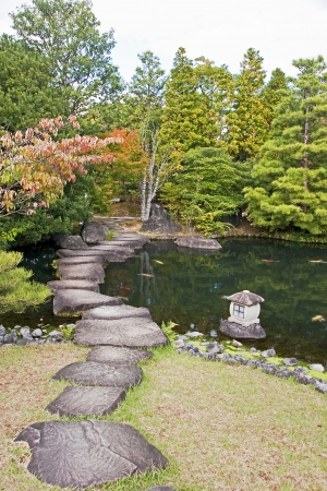 Japanese Garden in Himeji - Japan  View in autumn photo