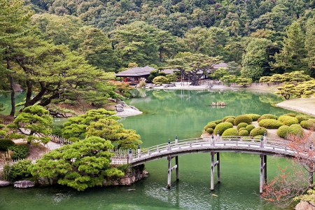 Japanese Garden in Takamatsu - Japan  View in autumn Stock Photo