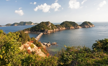 The picturesque coast of the island Shodoshima in Japan