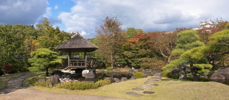 Japanese gazebo in the park in Himeji - view in autumn